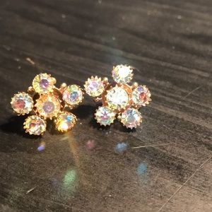 Aurora Borealis vintage screwback earrings